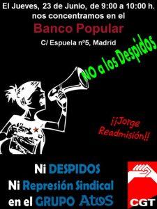 23-J Ni Despidos ni Represion Sindical Banco Popular